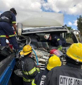 Collision between two trucks and a car in Roodepoort