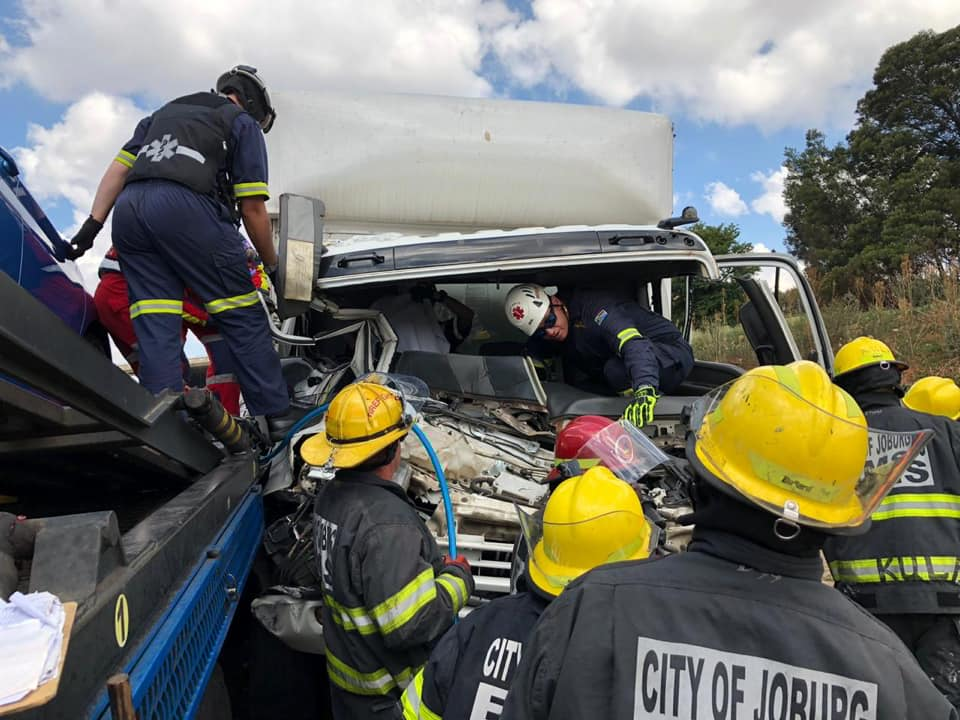 Collision between two trucks and a car in Roodepoort ...