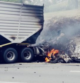 A truck is on fire on the N3 South under Modderfontein bridge