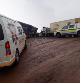 Three injured as 2 trucks collide in Kathu