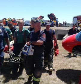 Rescue helicopter evacuates patient after truck rollover at Bottelary
