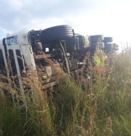 Truck lost control and capsized on the N3