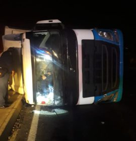 One truck overturned near Harrismith