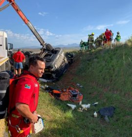 Air Mercy Services attending to Truck crash near Riversdal