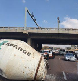 Truck loses load beneath Garsfontein Bridge