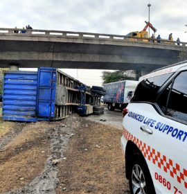 Truck driver hurt in a crash on the M7