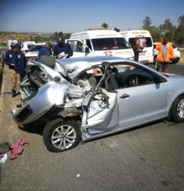 Two injured after truck and car collided at Nooitgedacht