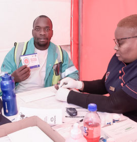 Truck Driver Paul Maluleke goes through one of the Health checks with Sister Sibongelo during the Engen Driver Wellness campaign, Engen Highveld 1 Stop West, Kempton Park, Johannesburg, GAUTENG