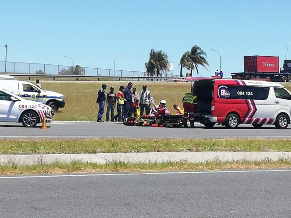 Pedestrian hit by truck, left seriously injured.