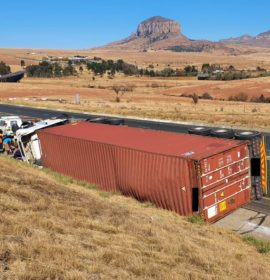 One person injured in truck rollover near Harrismith