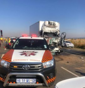 One dead , two seriously injured in a truck collision in Boksburg