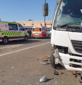 Car crashes into stationary truck at the corners of Hoog and Utrecht street in Vryheid