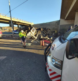 Truck crashes off bridge leaving two injured in Alberton