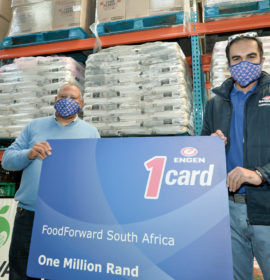 Andy du Plessis MD of Food Forward SA receives the Engen Fuel Card from Khalid Latiff ENGEN MD OF corporate Strategy and Communication , Cape Town, SOUTH AFRICA