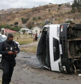 Four people injured in a rollover of a bin truck in Inanda