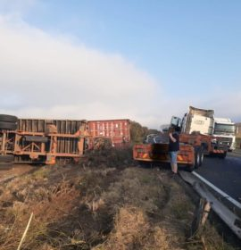 Fortunate escape from injury in a truck rollover at Harrismith