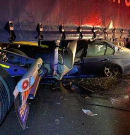 Miraculous escape from death after driver crashes into a truck