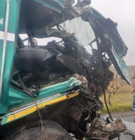 Very fortunate escape from injury in truck crash near Harrismith