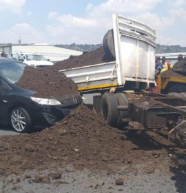 Multiple vehicle collision involving a truck on the N12
