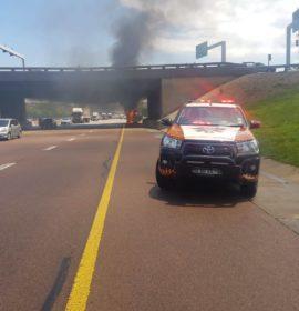 Truck on fire in Pretoria East