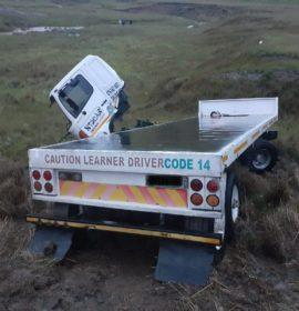 Fortunate escape from injury for a truck driver on the QwaQwa road