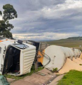 Fortunate escape from injury in a truck rollover between Kestell and Bethlehem