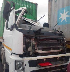 Fortunate escape from injury in truck collision on the N3 , Montrose