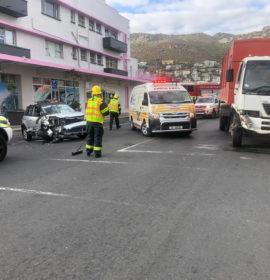 Fortunate escape from serious injury in a road crash in Fish Hoek
