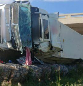 Driver injured in a truck rollover in Gauteng