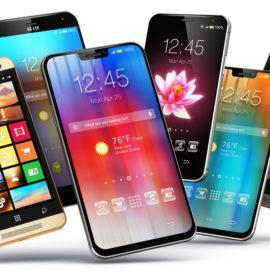 Creative abstract mobile phone wireless communication technology and mobility business office concept: 3D render illustration of the group of modern metal black glossy touchscreen smartphones with colorful application interface with color icons and buttons isolated on white background