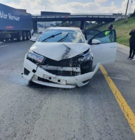 Fortunate escape from injury as truck tyre rolls into oncoming traffic