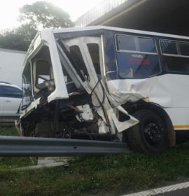 Bus crashes into guardrails on the N2 South bound after Clare Road.