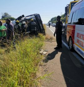 Driver entrapped in a overturned truck on the R102