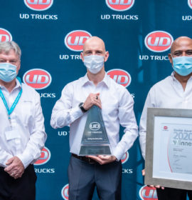 UD Trucks Lichtenburg's Dealer Principal, Reitjie Laubscher, with UD Trucks Southern Africa's Sales Director, Rory Schulz, (left), and Sanjay Naipal, Aftermarket Director (Right)