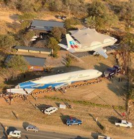 Airplane arrives at the Zandspruit Bush and Aero Estate in Hoedspruit