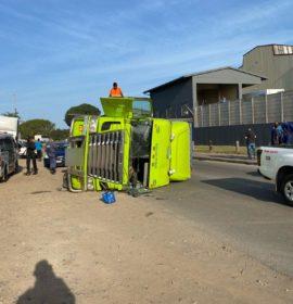 Truck and trailer overturns in Phoenix