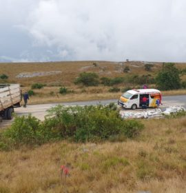 Three injured after a truck lost control and collided into a rock embankment on the R618