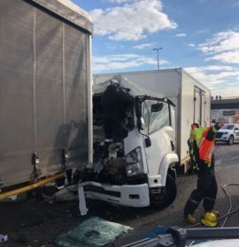 Gauteng:  One seriously injured in three truck collision