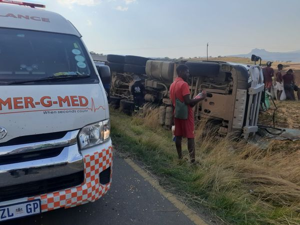Truck rollover collision leaves one injured on the R74