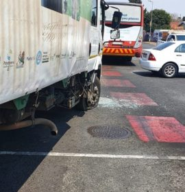 Fortunate escape from injury in a road crash in Westdene