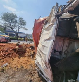 Truck and car collide, leaving six injured in Bassonia