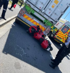 Motorcyclist injured in a collision with a truck in Milnerton