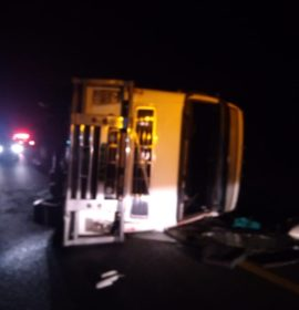 Truck rollover on the N3 , Harrismith