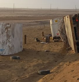 Truck carrying large marble rock overturns on the MR44 route at the C28 turnoff, Namibia