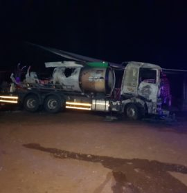 Petrol tanker in flames, driver seriously injured with burns